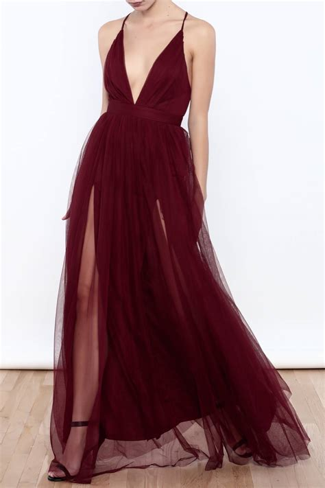 v neck tulle maxi dress tulle prom dress high slit prom dress backless prom dress