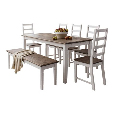 Dining Table With Chairs And Bench with Dining Table And Chairs Canterbury White And Pine