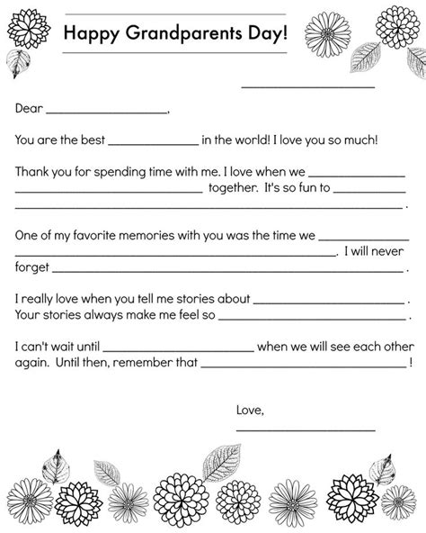 grandparents card template a note to grandparents for grandparents day children