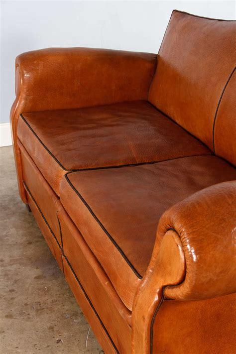 French Art Deco Leather Club Sofa 1930s At 1stdibs Leather Club Sofa