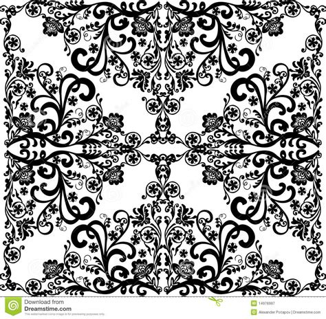 and black design square black on white floral design royalty free stock