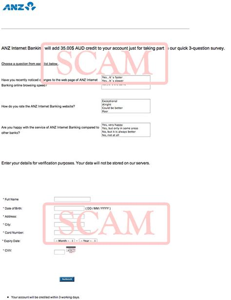 Credit Card Application Form Anz Anz 3 Question Survey Phishing Scam