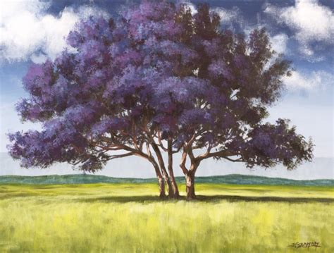 acrylic painting of trees jacaranda tree acrylic painting lesson tim gagnon studio