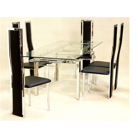Cheap Heartlands Crystal Glass Dining Table Set 6 Chairs Cheap Glass Dining Table And 6 Chairs