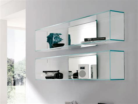 modern glass wall shelving