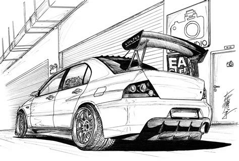 mitsubishi evo drawing mitsubishi evo jdm drawing sketch coloring page