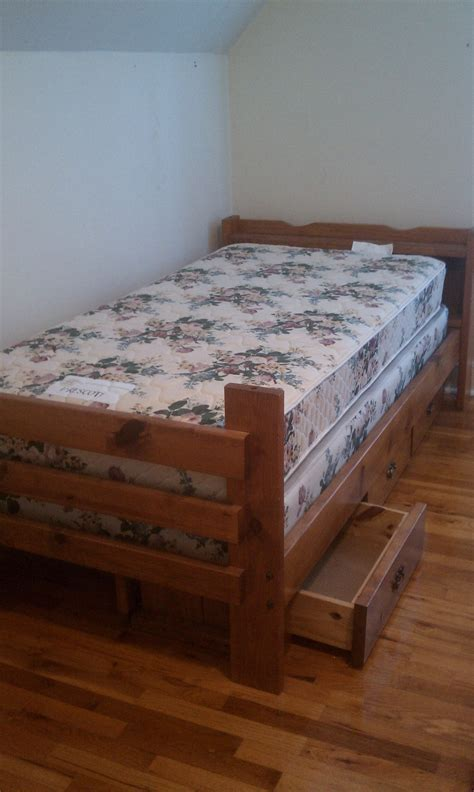 size wood bed frame with drawers mattress and box