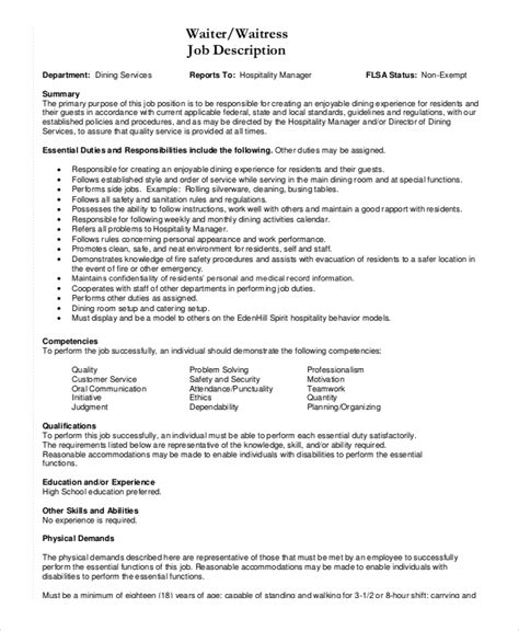 Sle Resume With Description For Waiter Description Of A Waitress 28 Images Doc 600730 Waiter