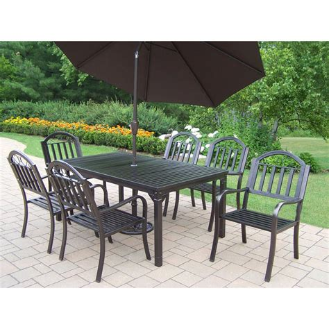metal outdoor dining set with brown umbrella hd