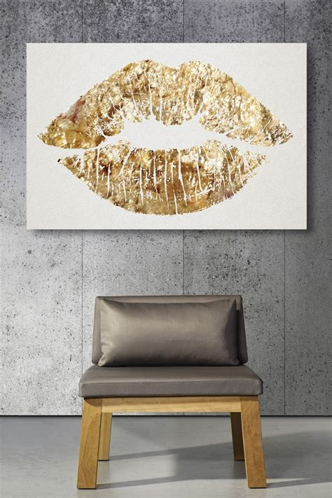gold home accessories gold home decor gold glitter lips canvas art cute for a bathroom or