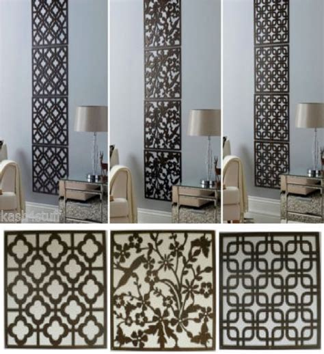 4pc contemporary wood effect hanging wall cut out