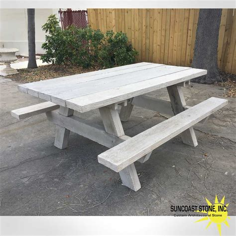 concrete picnic table imitation wood grain suncoast stone
