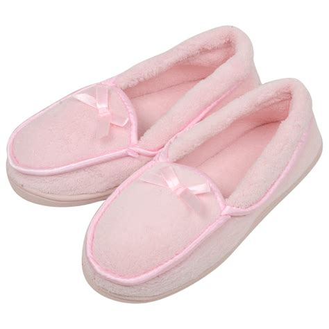 pink slippers womens cosy terry towelling slippers with