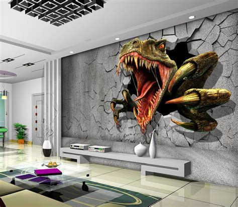 Wall Murals For Boys aliexpress com buy 3d dinosaur wallpaper personalized