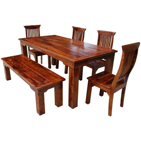 Dining Table Set With Bench Rustic Solid Wood Casual Dining Table Chair Set W Bench