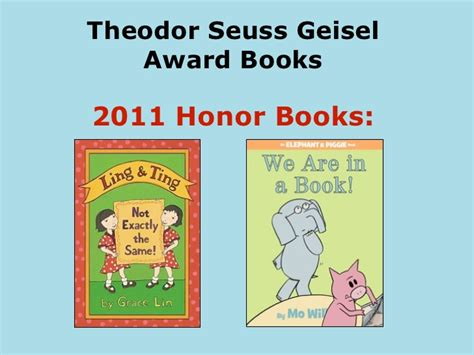 honor books theodor seuss geisel award