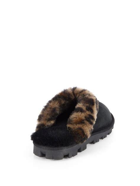 ugg coquette leopard print sheepskin slippers  black lyst