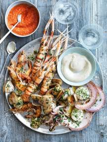 Fruit Basket Stand Char Grilled Seafood Platter With Romesco And Aioli Donna Hay