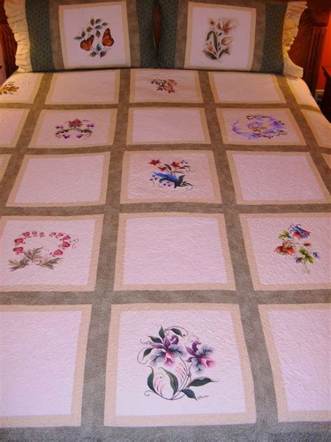 Painted Quilt Squares by Maureen Mcnaughton Florals Painted On Cloth Squares And