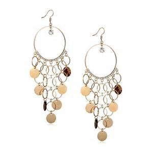 Earring Chandelier Gold Chandelier Earrings Sequin Circle Hoop Chandelier Shoulder Duster Earrings Rhinestone