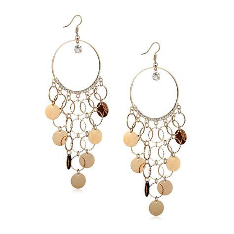 Circle Chandelier Gold Chandelier Earrings Sequin Circle Hoop Chandelier Shoulder Duster Earrings Rhinestone