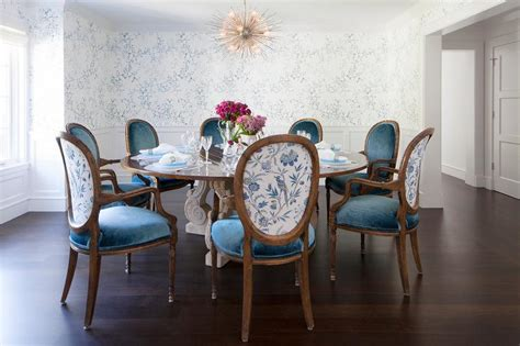 Blue Dining Table And Chairs Dining Table With Blue Velvet Oval Back Dining Chairs Transitional Dining Room