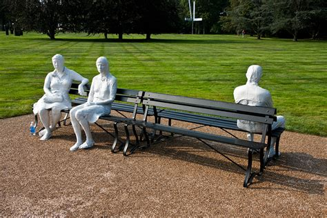 three figures and four benches pepsico sculpture garden george segal three people on four