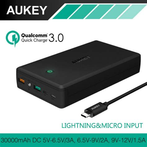 aukey 30000mah external power bank for qualcomm charge 3 0 universal portable charger