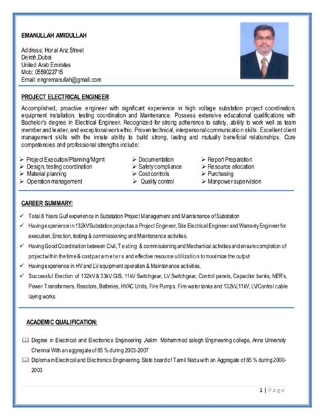 SUBSTATION PROJECT CONSTRUCTION ELECTRICAL ENGINEER RESUME