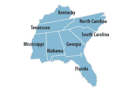 map of the united states southeast map of the southeast region of the us images