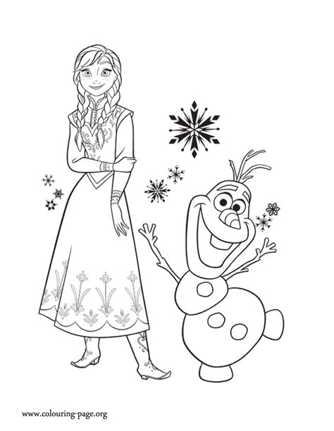 frozen princess anna and her friend olaf coloring page