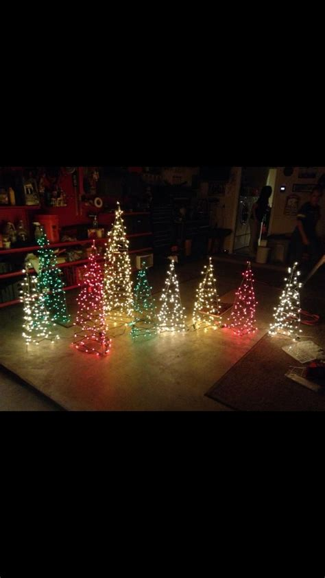 miniature lighted christmas tree christmas yard decor trees made out of tomato cages and