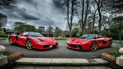 golden ferrari laferrari evolution ferrari enzo and laferrari roso corsa color