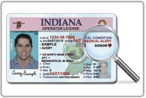 indiana id card template department of motor vehicles state identification
