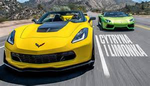 Lamborghini Vs Corvette Z06 Corvette Z06 Convertible Vs Lamborghini Aventador Roadster