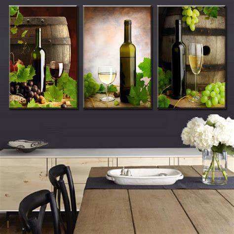 wine decor for dining room 3 pieces modern spray canvas painting wine and wine