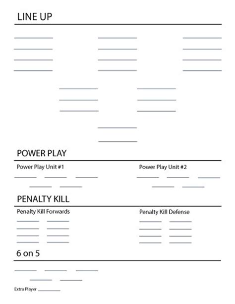 Lineup Card Template Hockey by Hockey Roster Template Templates Blank Roster Templates