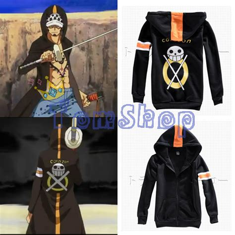 Sweater Hoodie Anime One Peace Trafalgar Stripe anime one trafalgar time skip dressrosa dress rosa hooded coat jacket zipper