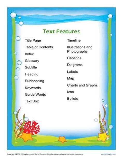 Text Features Printables