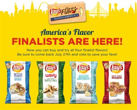 Lays Chips Sweepstakes - lay s potato chips unveils do us a flavor finalists potatopro