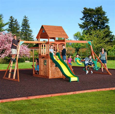 backyard playground equipment outdoor play house cedar swing set slide backyard