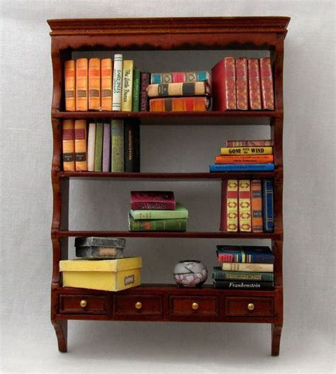 miniature small walnut book shelf 1 12 scale furniture