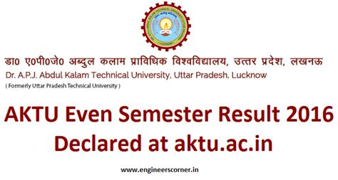 Aktu 1st Sem 2016 2017 Result Mba by Aktu Even Semester Result 2016 Declared At Aktu Ac In