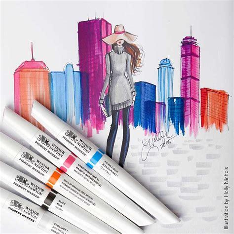Pigment Marker Paper Size A5 Winsor Newton w n pigment marker 6 set vibrant tones