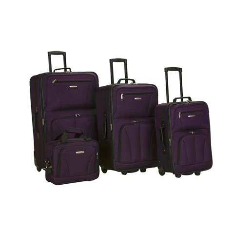 rockland luggage dots 4 piece luggage set multiple blue rockland 4 piece luggage set f32 purple the home depot