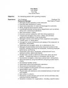 Resume Career Objective Restaurant Objective For Restaurant Resume Best Resume Exle