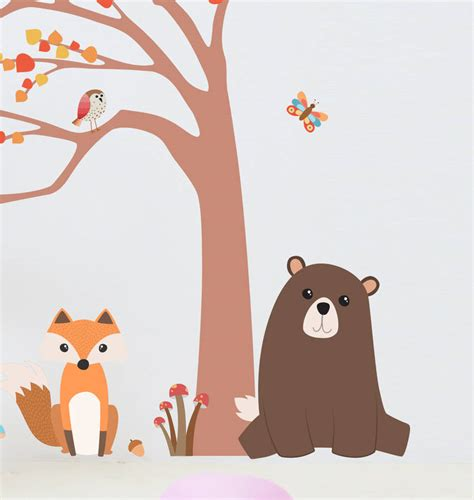 childrens tree wall stickers children s woodland animal and tree wall sticker set by