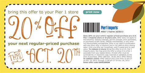 pier one coupon pier 1 imports 20 off printable coupon for the home