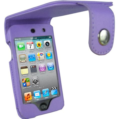 iGadgitz Purple PU Leather Case Cover for Apple iPod Touch 4th Gen 8gb, 32gb & 64gb   Belt Clip