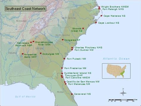 map of southeast coast usa southeast coastal states